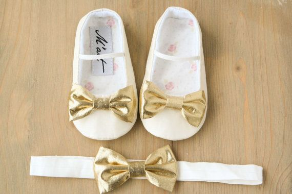 Gold baby shoes Ivory baby girl shoes baby christening