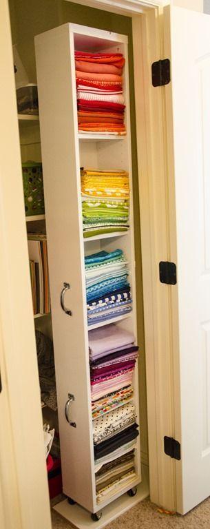 IKEA hack - Billy bookshelf http://www.smilelikeyoumeanit.net/2013/03/conquering-fabric-pile.html kitchen closet?: