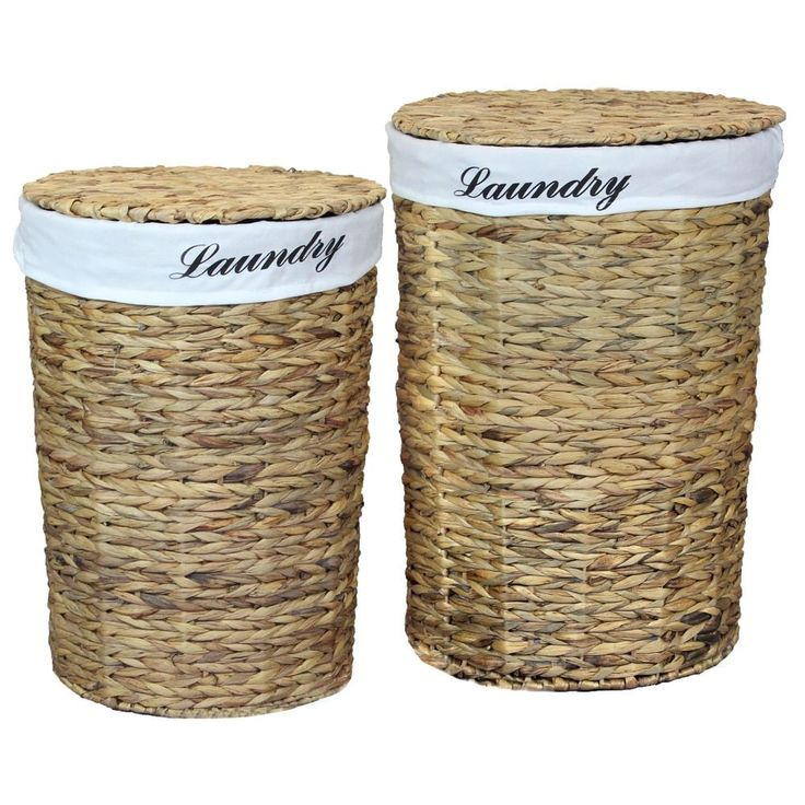 Vintiquewise Woven Water Hyacinth Round Linen Lined Laundry Hamper with Lid