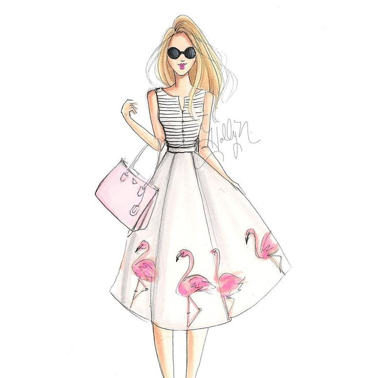 """""""By request, flamingo girl has been added to Etsy and Casetify  (both links are in bio) #fashionsketch #fashionillustration #fashionillustrator…"""""""