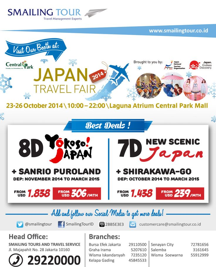 Visit Smailing Tour Booth at  JAPAN TRAVEL FAIR at Central Park Mall, Laguna Atrium 23-26 Oct   and Get The Best Travel Deals for Japan Tour Packages!