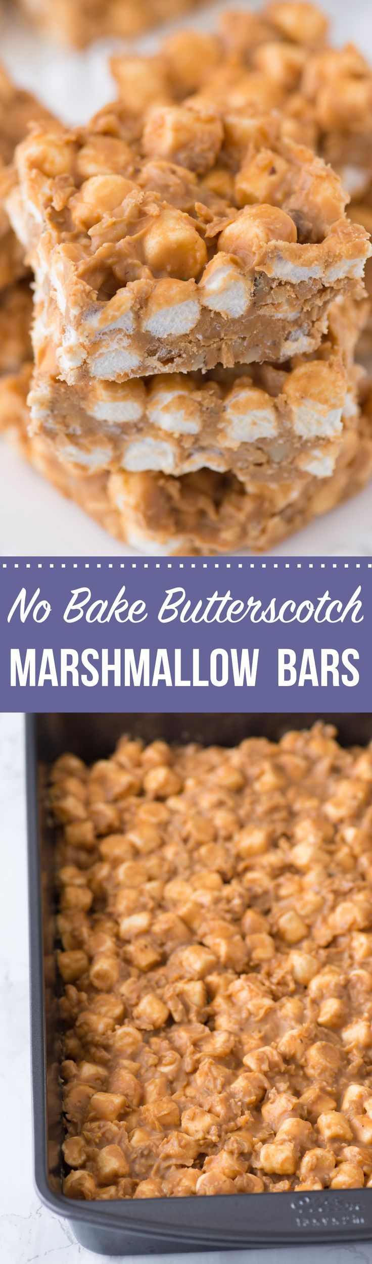 A simple no bake recipe for butterscotch marshmallow bars with coconut and walnuts! This is a classic holiday no bake treat!