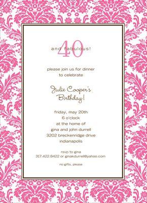 Pink Damask Border Invitations
