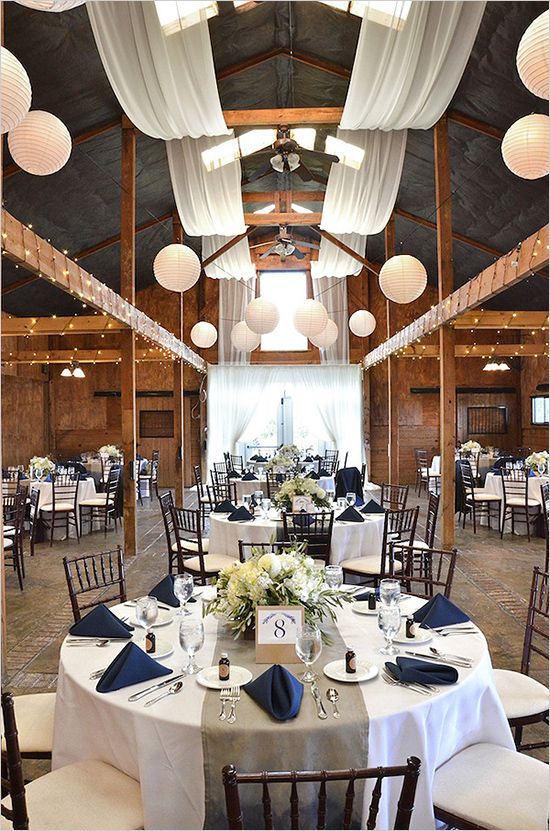 Navy and white wedding decor with a splash of burlap...I love this.