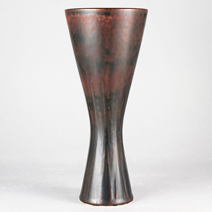 Carl-Harry Stalhane (SDO 1960s) Russet Red Hourglass  Vase