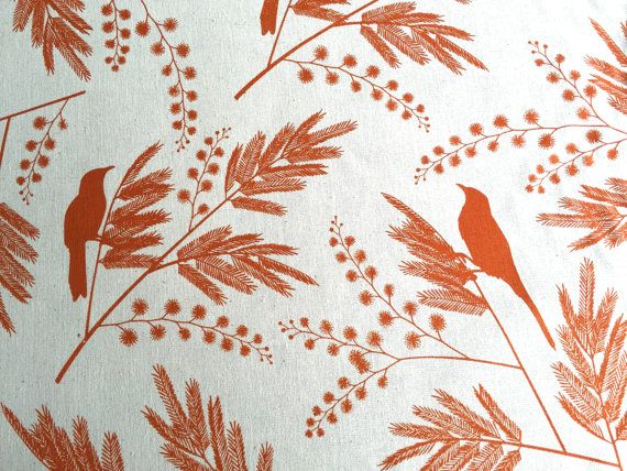 Hand Screen Printed Fabric by Ink and Spindle - Acacia in Burnt Orange 70cm x…