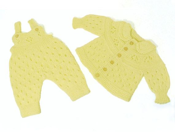 Cardigan and overall for baby girl, knit set for baby, jumpsuit and jacket , creamy jacket and overall