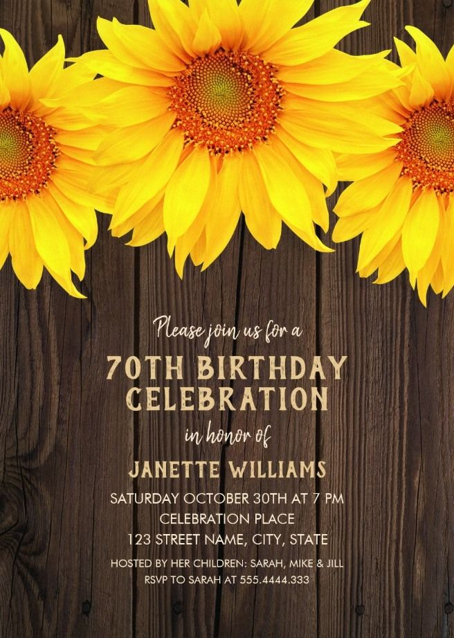 country sunflower 70th birthday invitations rustic wood templates
