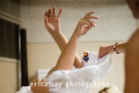 Jayhawk patch on the inside of her wedding dress... now thats an idea!