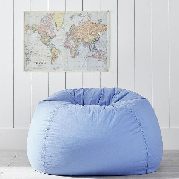 PB Teen Hydrangea Washed Twill Beanbag ($54) ❤ liked on Polyvore featuring home, furniture, chairs, light blue bean bag chair, slipcovered furniture, plush chair, recycled chairs and light blue chair