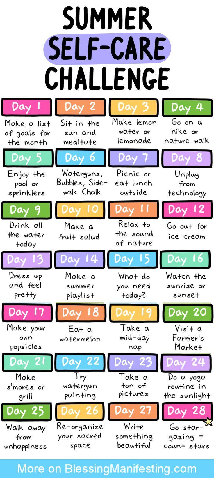 31 Self-Care-Ideen für den Sommer – Segen manifestiert sich   – Happiness + Positivity