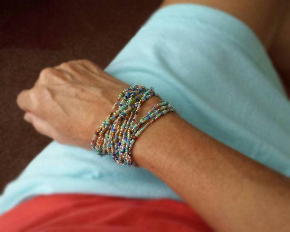 Türkis, Salbei, Kobalt und mehr - langen Seed Bead Strang - Verschleiß als Halskette, Armband oder Fußkettchen