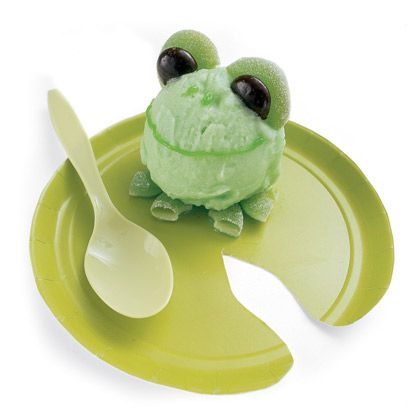 """""""Sherbet the Frog"""" :  A scoop of green sherbet with green gummies cut in half for the eyes and feet, and a mint cut in half for the eyes.  So cute!"""