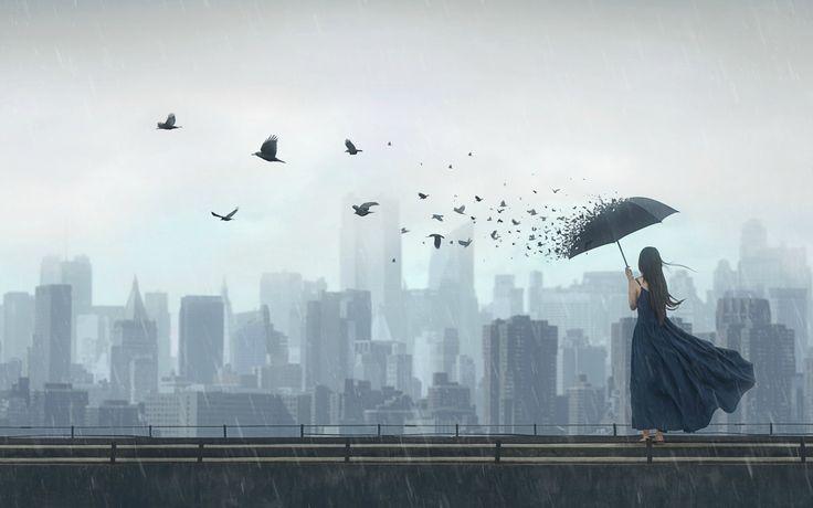 Скачать обои девушка, птицы, город, фантазия, дождь, зонт, арт, раздел ситуации в разрешении 1920x1200