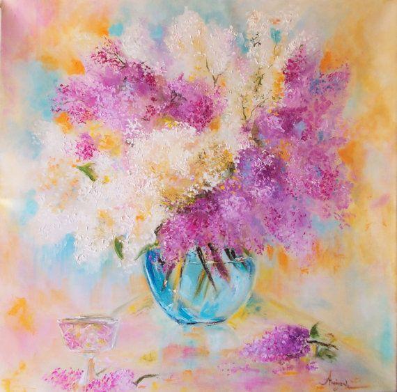 Original floral paintinglilac painting by AntigoniArtGallery