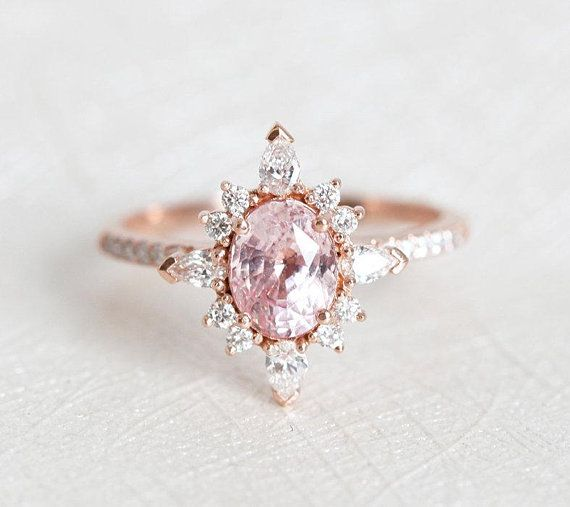 Oval Peach Pink Sapphire Diamond Ring 14k Or 18k Solid Gold Etsy Peach Sapphire Engagement Ring Bridal Diamond Ring Vintage Engagement Rings