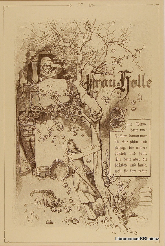 frau holle or mother hulda title page grimms by libromancer