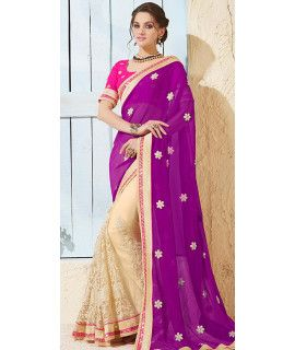 Vivously Purple And Cream Net Saree With Blouse.