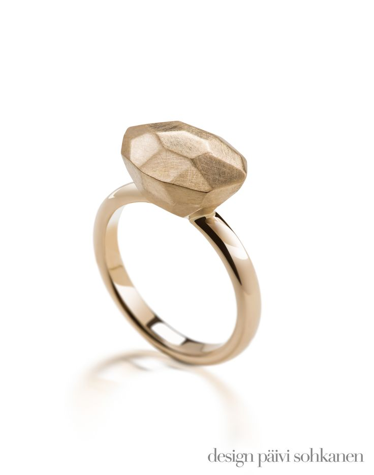 Client's old jewelry were melted and re-shaped into the diamond-resembling jewel on this gold ring. Design Päivi Sohkanen, Photo: Mikael Pettersson  www.paivisohkanen.fi