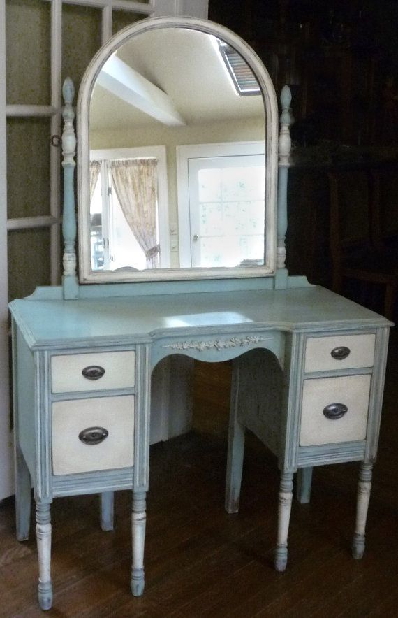 Romantic Antique Vanity Dressing Table With Mirror Antique