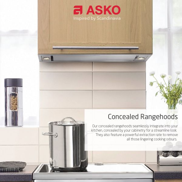 A top-class rangehood should complement your kitchen's décor, enhance your cooking experience, and make it easier to clean up. ASKO's rangehoods do all these things with ease while also keeping noise down to a whisper and efficiently removing smoke, odours, and airborne grease.