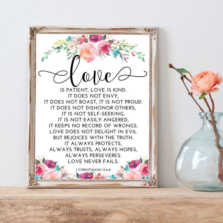 1 Corinthians 13:4-8 Love Never Fails Love by LittleHollowPrints