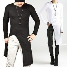 New Mens Fashion Stylish Avant-Garde Asymmetric Unbalance Long Slim Tee Shirts