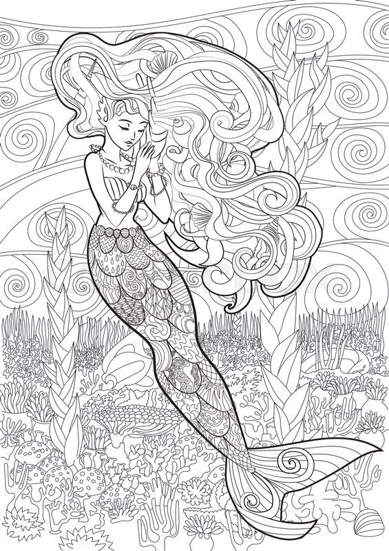 Stock vector de \'Ilustración con dibujos de una sirena en el estilo ...
