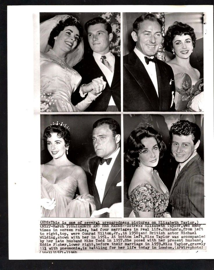 1961 Press Photograph Elizabeth Taylor and First 4 of 9 Husbands *252 | eBay
