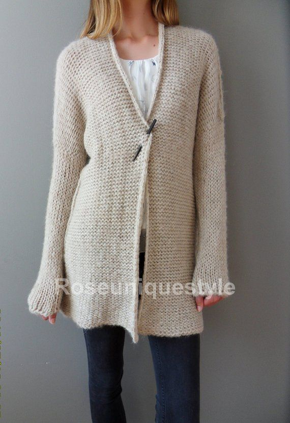 c828fff808a2 Alpaca Chunky knit Cardigan. Cream Beige women knit cardigan. Made to order.