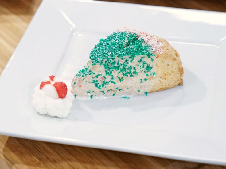 Santa's Hat Peppermint Scones with White Chocolate Ganache recipe from Holiday Baking Championship via Food Network