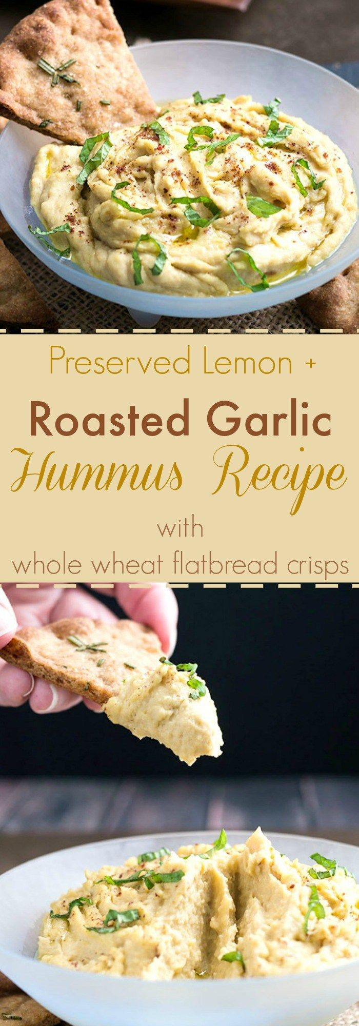 Preserved Lemon + Roasted Garlic Hummus Recipe with Whole Wheat Flatbread Crisps| Mildly sweet roasted garlic gets funked up with briny preserved lemon in this crazy good hummus dip recipe. Great for snacking or a light lunch and definitely worthy of your game day snack table.