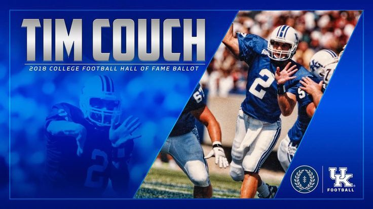 Congrats to former Wildcat Tim Couch on being named to  the 2018 College Football Hall of Fame ballot by The National Football Foundation (NFF) & College Hall of Fame! Couch was a 1998 consensus First Team All-American who finished fourth in Heisman voting in 1998 and ninth in 1997...1998 SEC Player of the Year who led Cats to first win over Alabama in 75 years...Set seven NCAA, 14 SEC and 26 school records. #WeAreUK