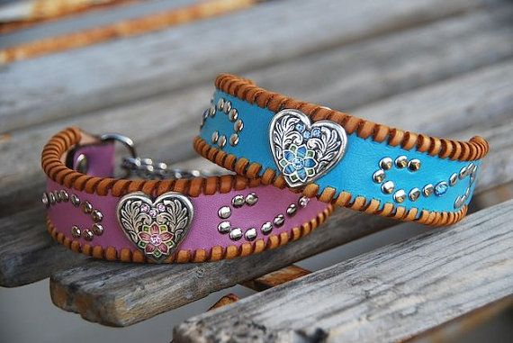 Valentine Leather Dog Collar with Heart Concho Scroll Rivets & Tan Lacing Rustic Bohemian Southwestern Boho Western Leather Dog Collar