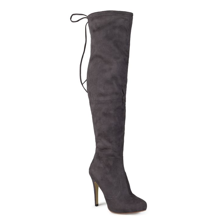 Look chic and fierce in knee-high boots by Journee Collection. These stylish boots feature micro-suede uppers that rise above the knees. Stiletto heel and subtle hidden platforms complete the design. Also available in wide calf.