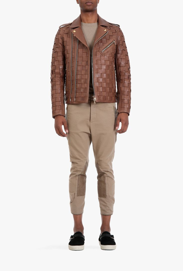 Mens leather driving gloves melbourne - Balmain Braided Leather Jacket Mens Leather Jackets