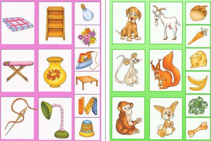 Cada objeto con su pareja y cada animal con su comida