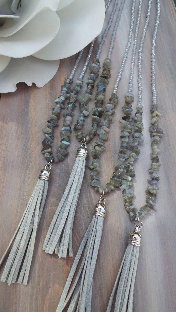 Long beaded grey tassel necklace. Long tassel necklace with gemstones. Labradorite necklace. Boho tassel necklace.