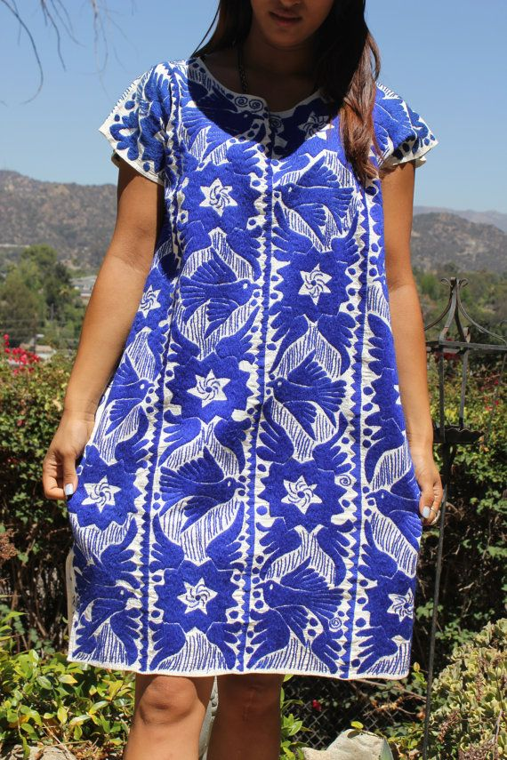 Large OUTSTANDING ETHNIC Folk Art Handwoven Hand Embroidered Huipil 1960s 1970s on Etsy, $230.00