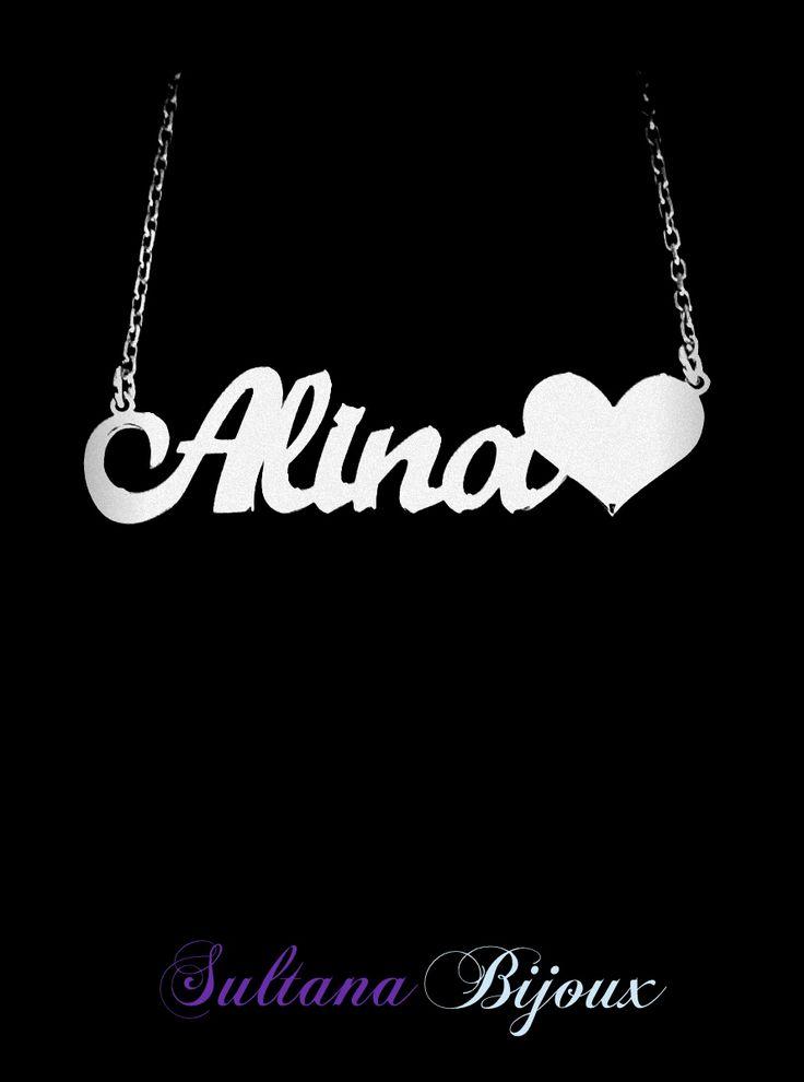 Colier din argint 925 personalizat cu numele Alina♥. Realizam la comanda cu numele ales de d-voastra. Lungime lant: 40 - 45 cm Lantisor reglabil Numele se scrie cu litere caligrafice (scris de mana) *La orice colier care depaseste 7 caractere se taxeaza 5 lei / litera.