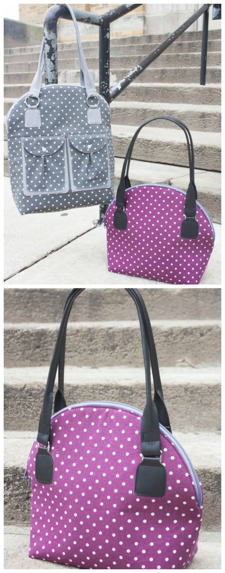 Byebye Love bag sewing pattern. Pattern comes in two sizes for a regular or taller bag. I've made both and they are both great. Love the pockets on the larger one and the curved zipper is actually easy to sew!