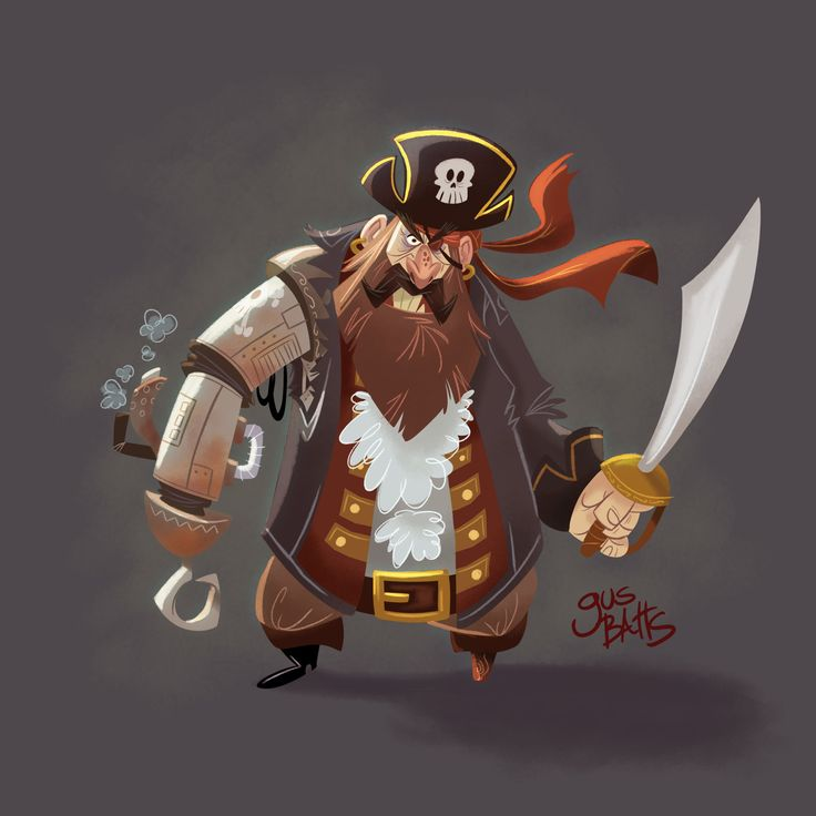 Cyborg Pirate Character design, Gus Batts on ArtStation at https://www.artstation.com/artwork/k289y