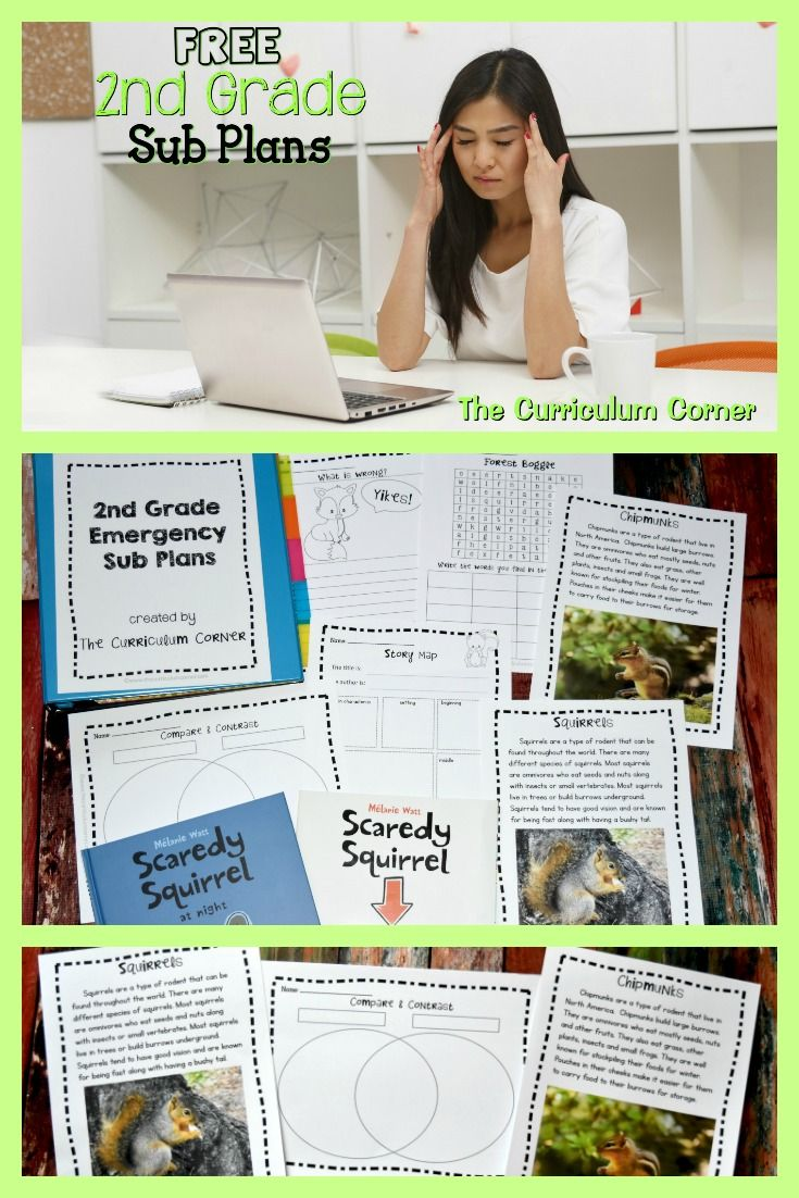 FREE new set of 2nd Grade Emergency Sub Plans from The Curriculum Corner via @TheCCorner