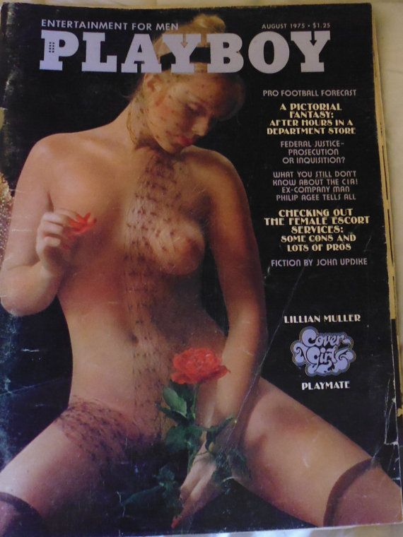 Playboy Magazine August 1975, Lillian Muller, John Updyke, Vargas Girl, Emanuel Greenberg, Fred Brandfman, Phillip Agee, girlie magazine