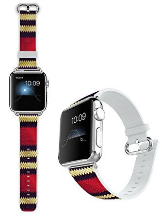 Apple Watch Band, 38MM iWatch Strap Premium Leather Replacement Watch Band with Secure Metal Clasp Buckle Milk Snake Pattern Review 2017