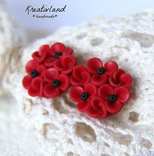 Poppy flower dots - handcrafted from polymer clay (own design)