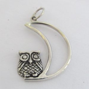 Sterling Silver Owl On Moon Pendant: R500.00