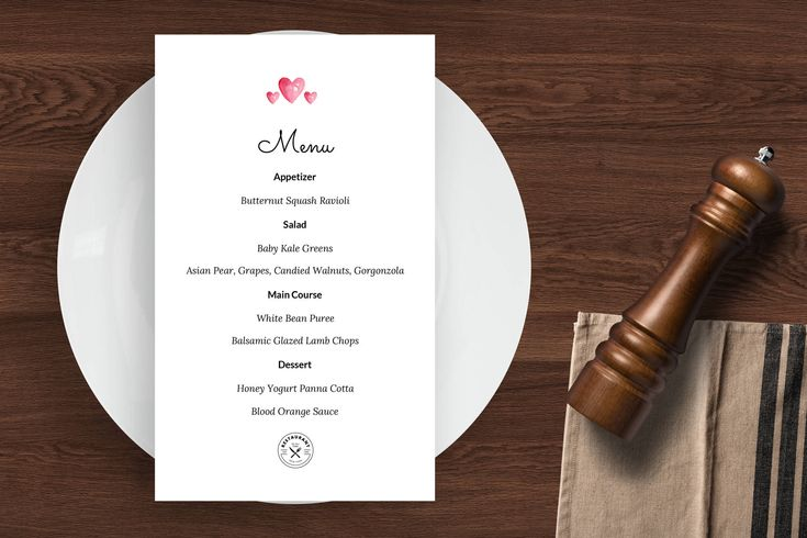 Valentine's Day Course Menu Template - ASBA Creative Studio | Menu template