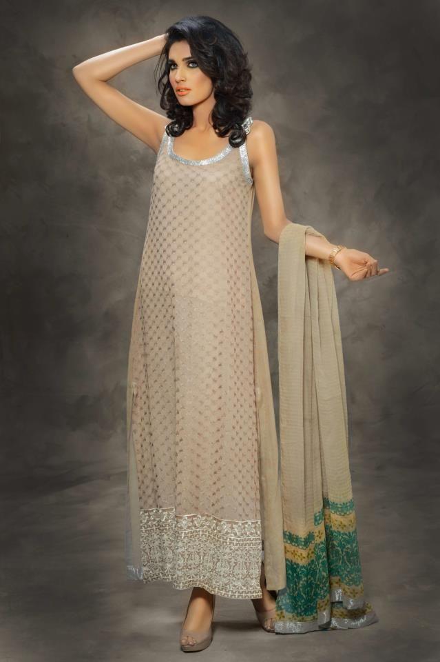 Sobia Nazir - taupe and turquoise - Pakistani fashion