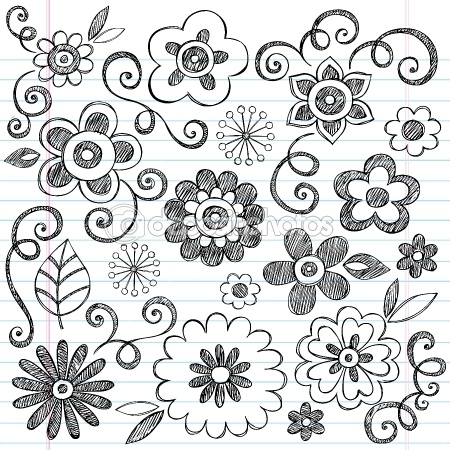 Flowers Sketchy Notebook Doodles Vector Design Elements — Imagen vectorial #9263830                                                                                                                                                                                 Más